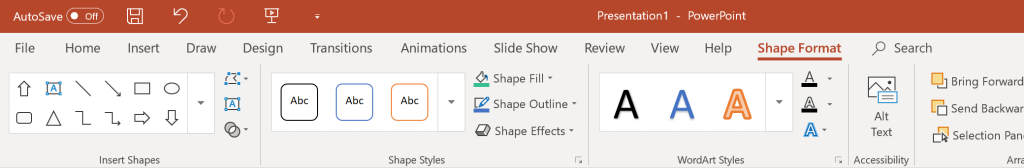 shape format toolbar