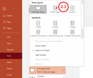 Step 2.1 - Select Print Settings