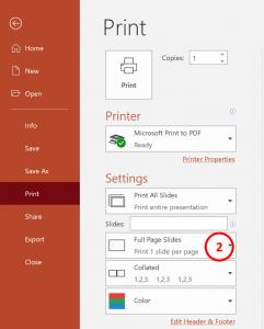 Step 2 - Select Print Settings