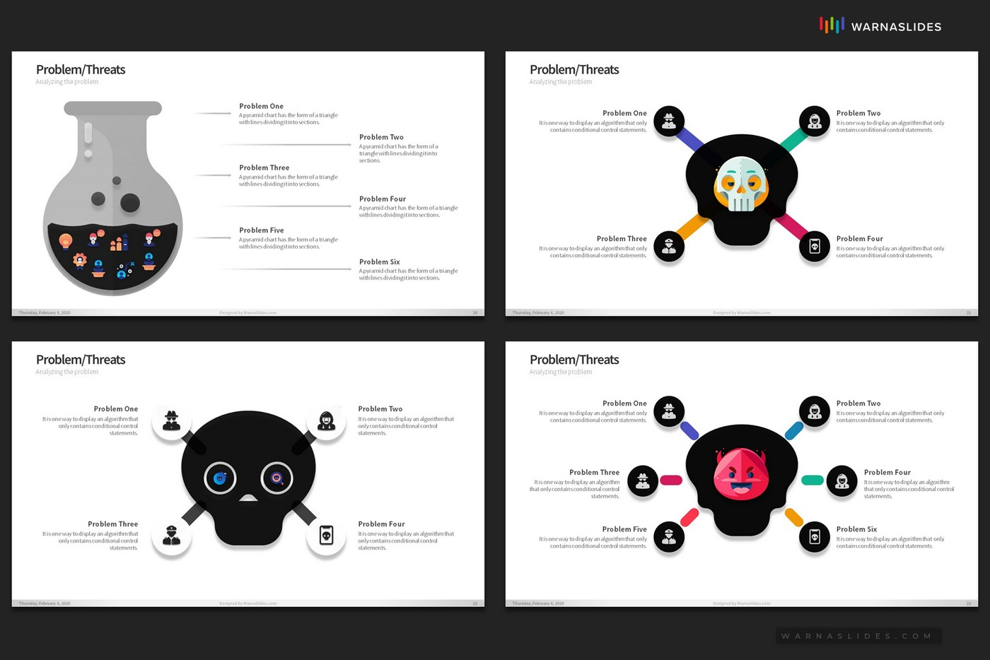 Problem-Threats-Risk-Management-Weaknesses-Services-Brainstorm-PowerPoint-Template-2020-for-Business-Pitch-Deck-Professional-Creative-Presentation-by-Warna-Slides-010