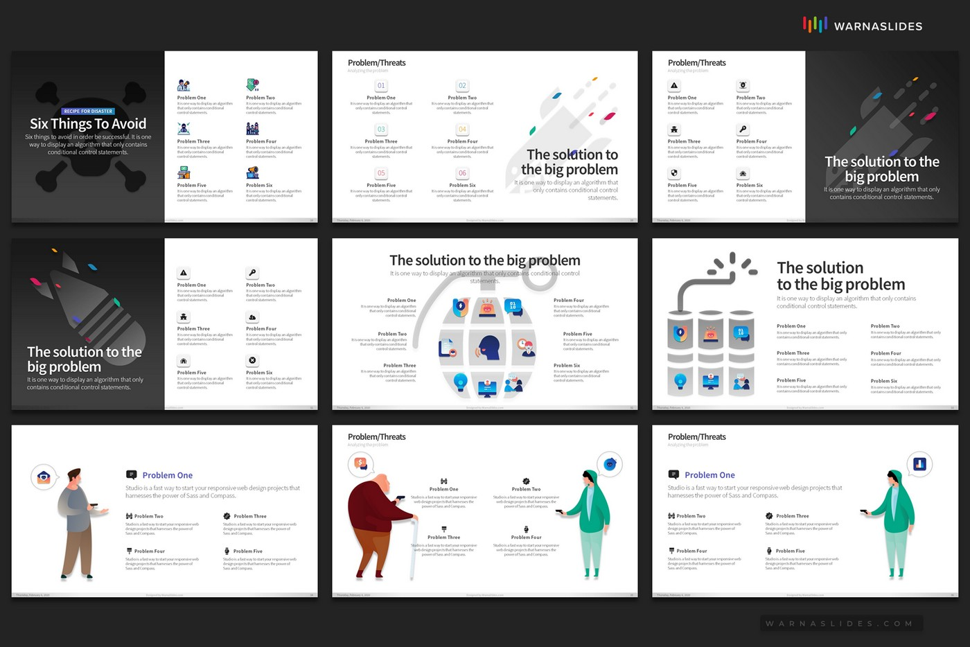 Problem-Threats-Risk-Management-Weaknesses-Services-Brainstorm-PowerPoint-Template-2020-for-Business-Pitch-Deck-Professional-Creative-Presentation-by-Warna-Slides-012