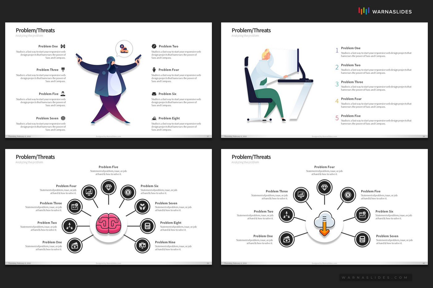 Problem-Threats-Risk-Management-Weaknesses-Services-Brainstorm-PowerPoint-Template-2020-for-Business-Pitch-Deck-Professional-Creative-Presentation-by-Warna-Slides-013
