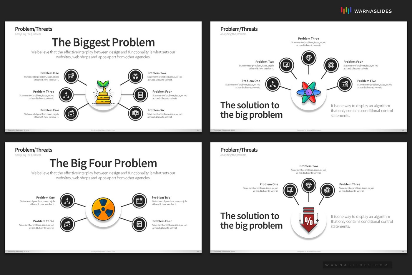 Problem-Threats-Risk-Management-Weaknesses-Services-Brainstorm-PowerPoint-Template-2020-for-Business-Pitch-Deck-Professional-Creative-Presentation-by-Warna-Slides-014