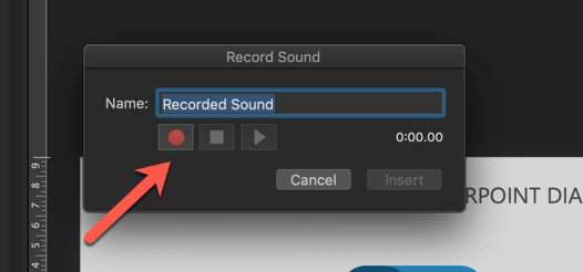 record sound dialog box on PPT