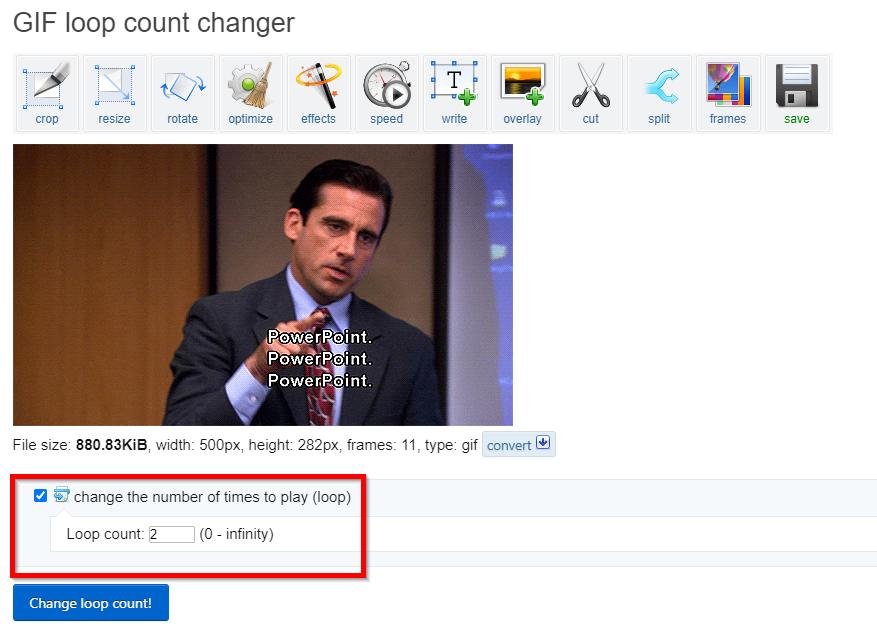 Change GIF Loop Count