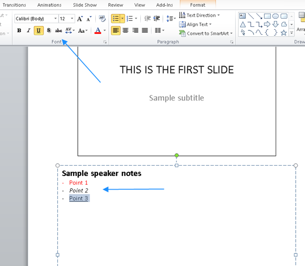 PowerPoint notes text format