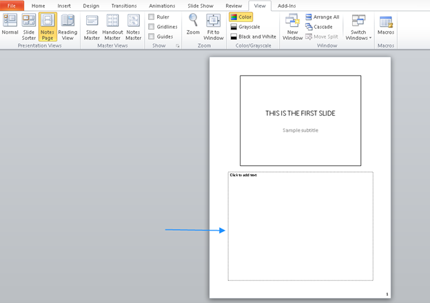 PowerPoint speaker notes section
