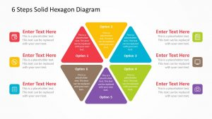 6 Steps Solid Hexagon Diagram