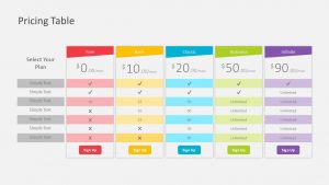 Free Pricing Table PowerPoint Template