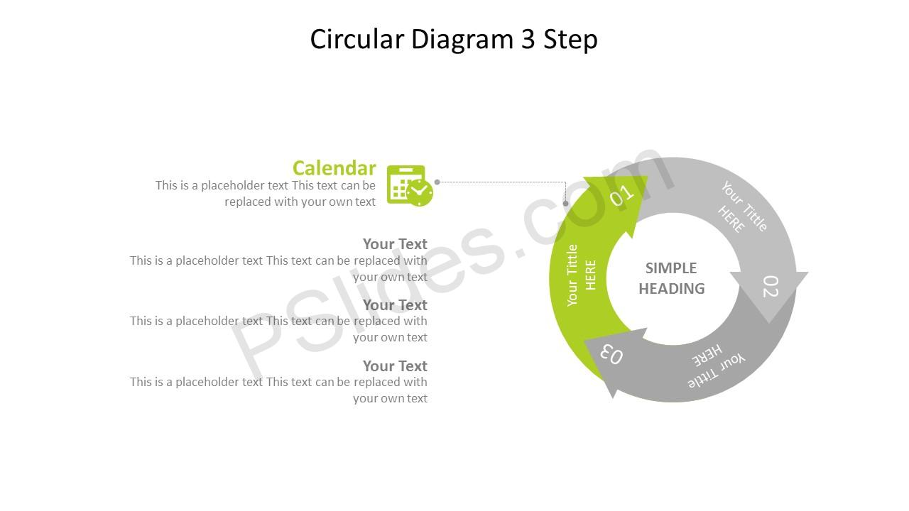 Circular 3 Stage Arrow Diagram – Calendar
