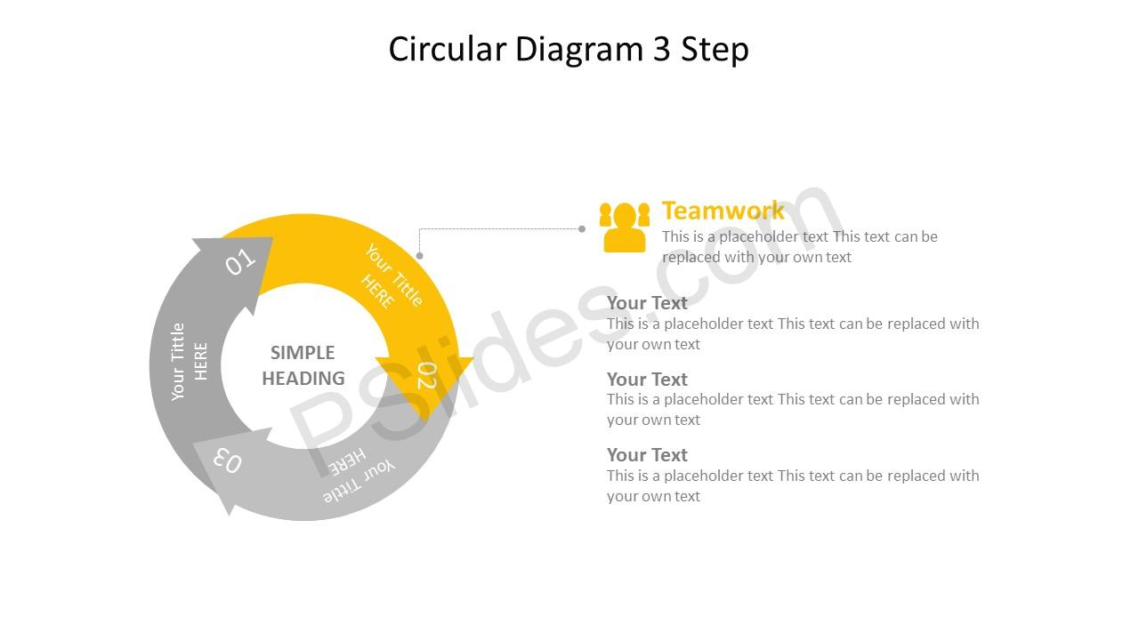 Circular 3 Stage Arrow Diagram – Teamwork