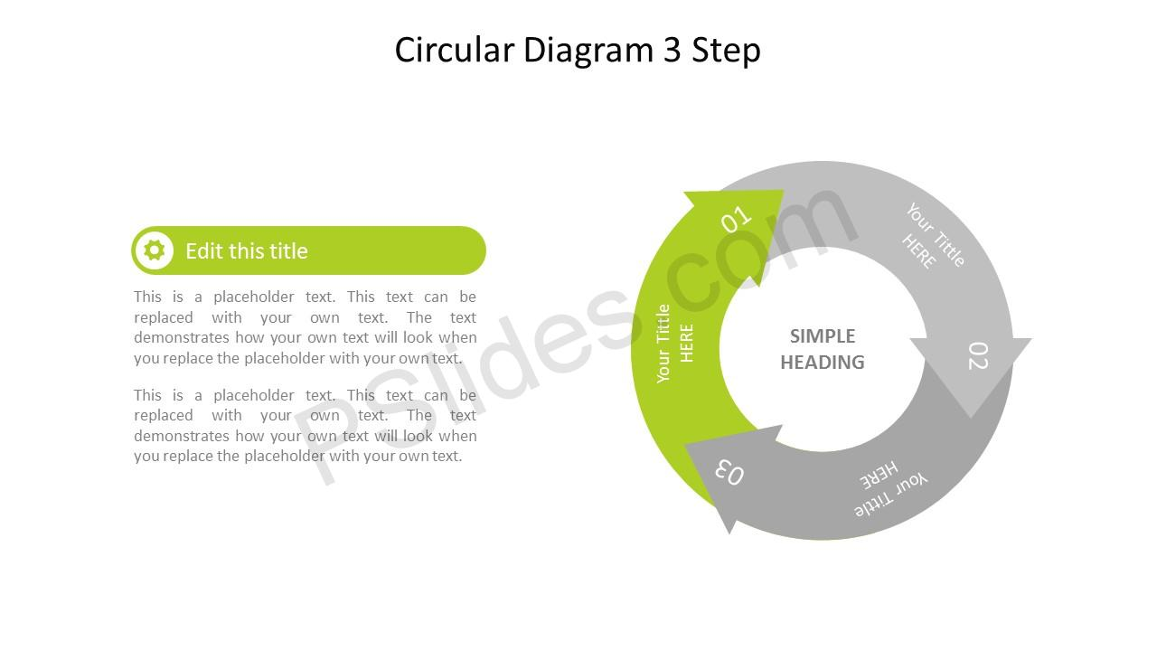 Step 1 Circular 3 Stage PowerPoint Arrow Diagram
