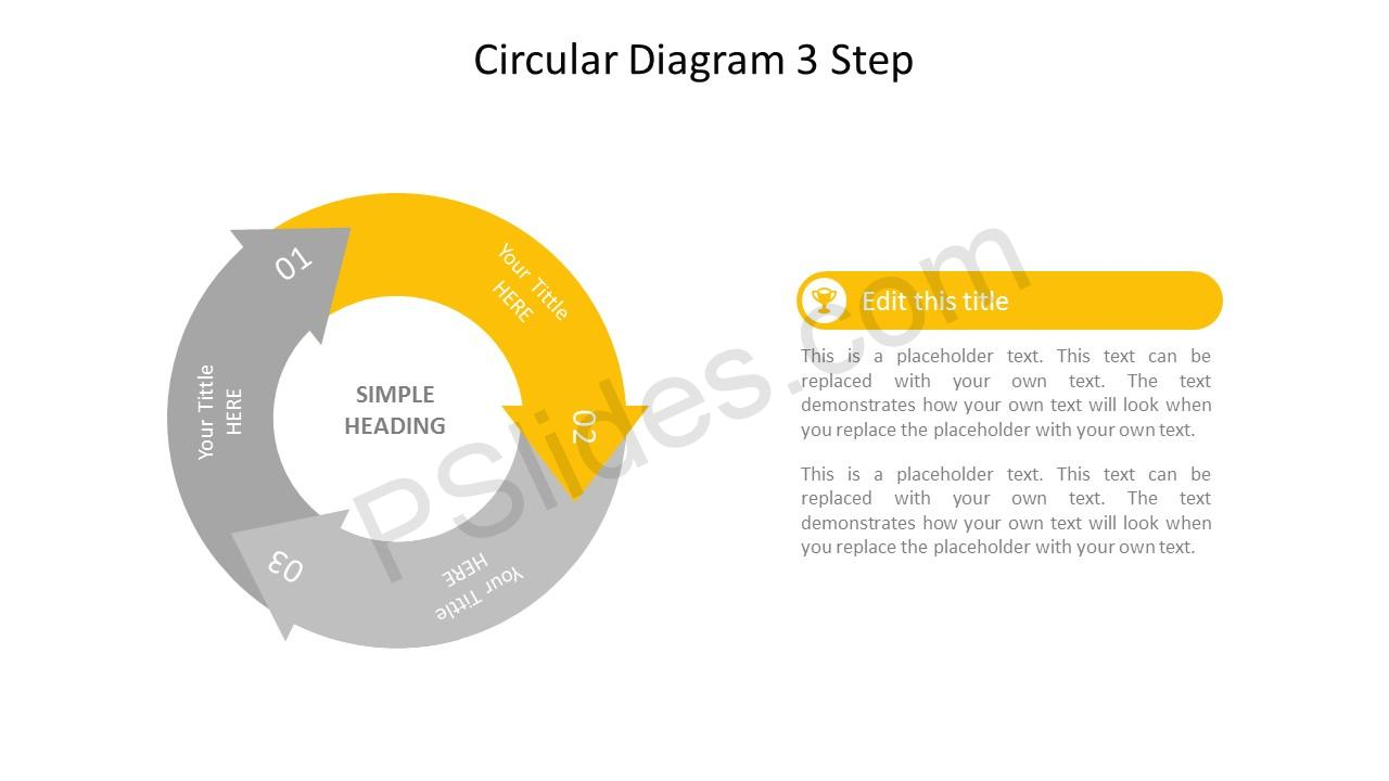 Step 2 Circular 3 Stage PowerPoint Arrow Diagram