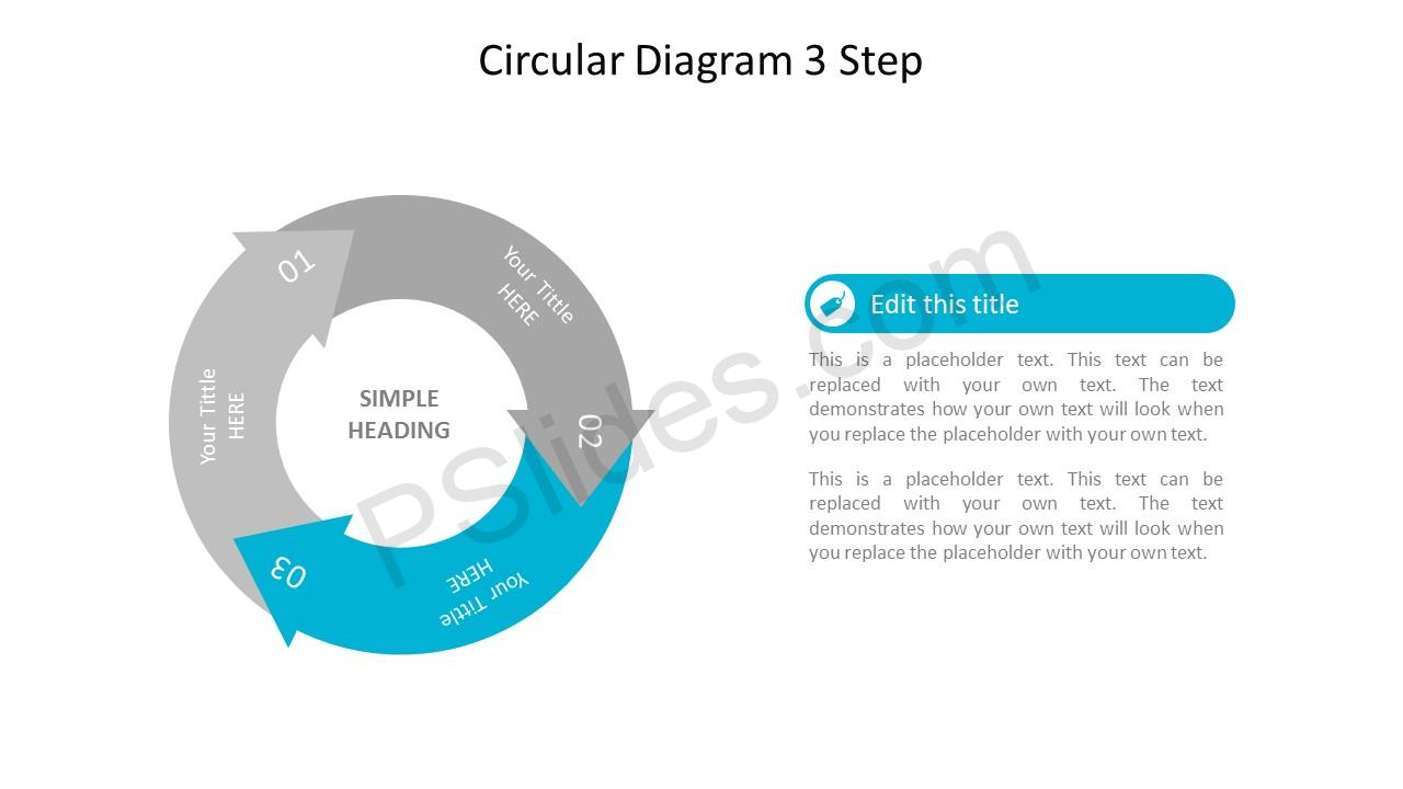 Step 3 Circular 3 Stage PowerPoint Arrow Diagram