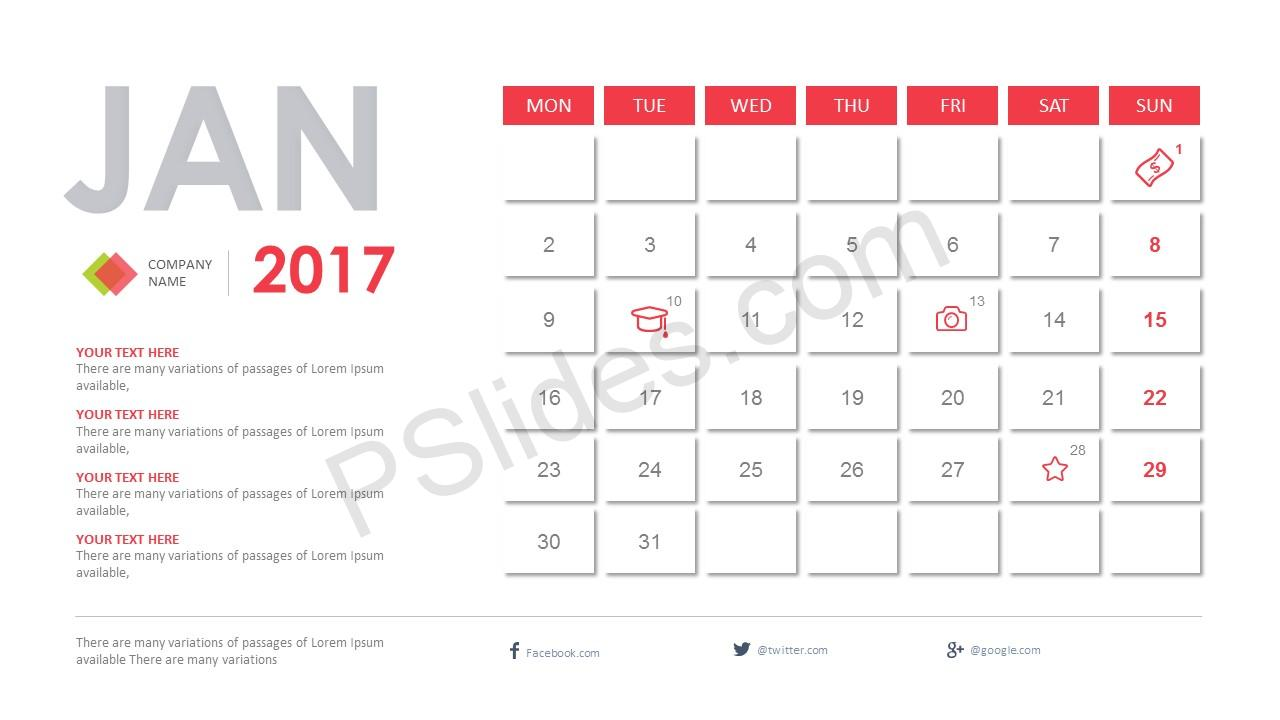Calendar Template For Powerpoint from pslides.com