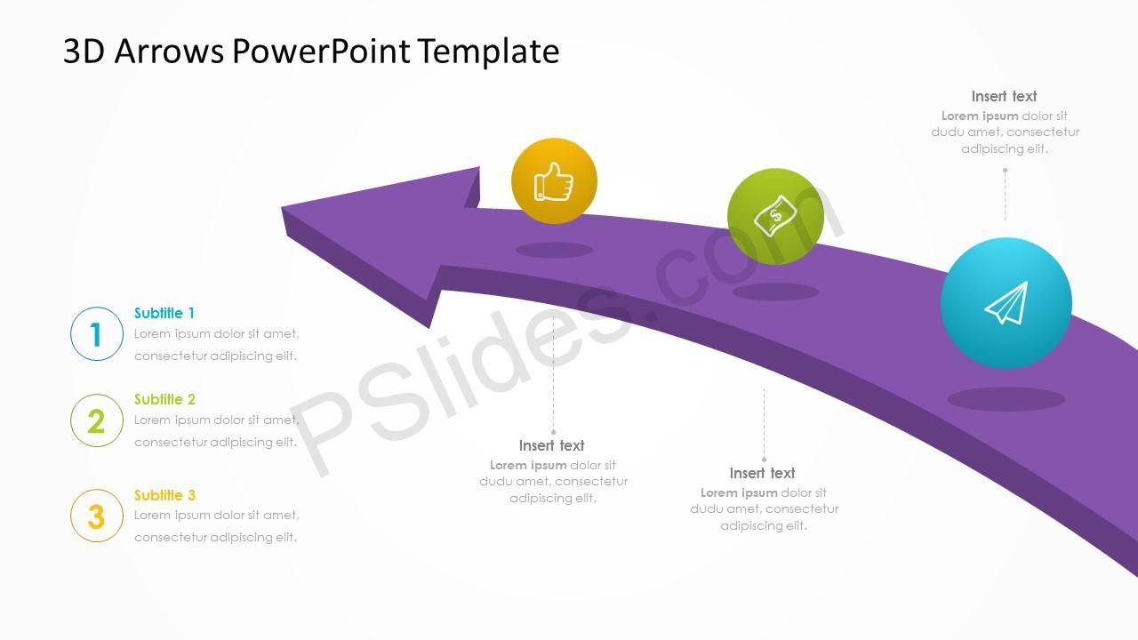 3D Arrows PowerPoint Template – 1