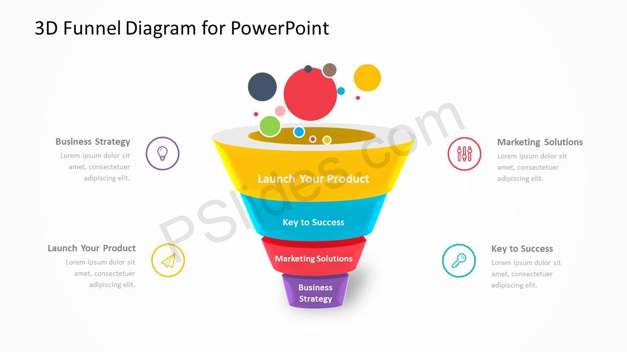3D Funnel Diagram for PowerPoint 2