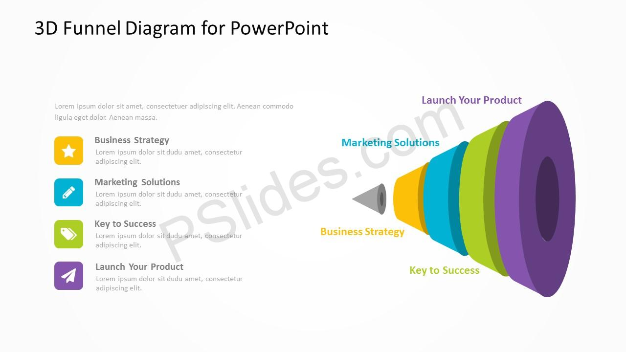 3D Funnel Diagram for PowerPoint 3