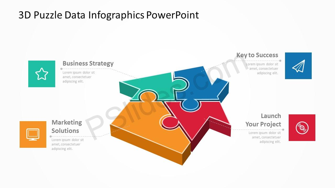 3D Puzzle Data Infographics PowerPoint 1