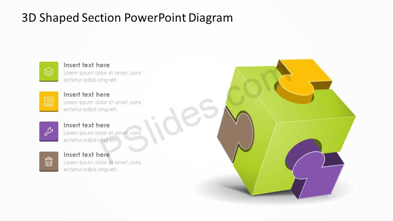 3D Shaped Section PowerPoint Diagram 2
