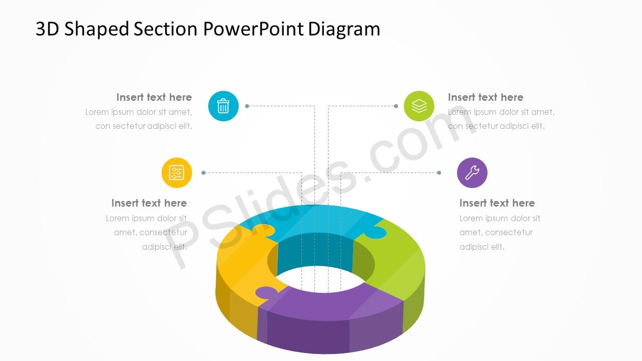 3D Shaped Section PowerPoint Diagram 3