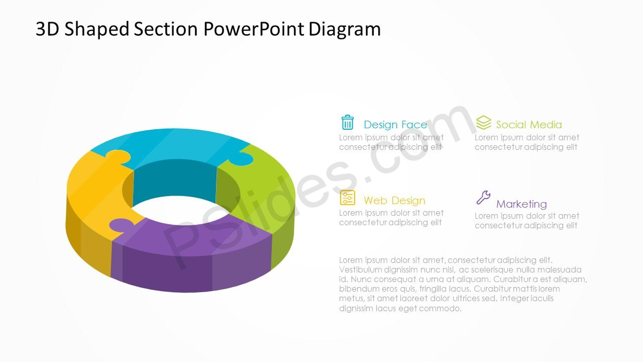 3d shaped section powerpoint diagram pslides 3d shaped section powerpoint diagram 4 ccuart Image collections
