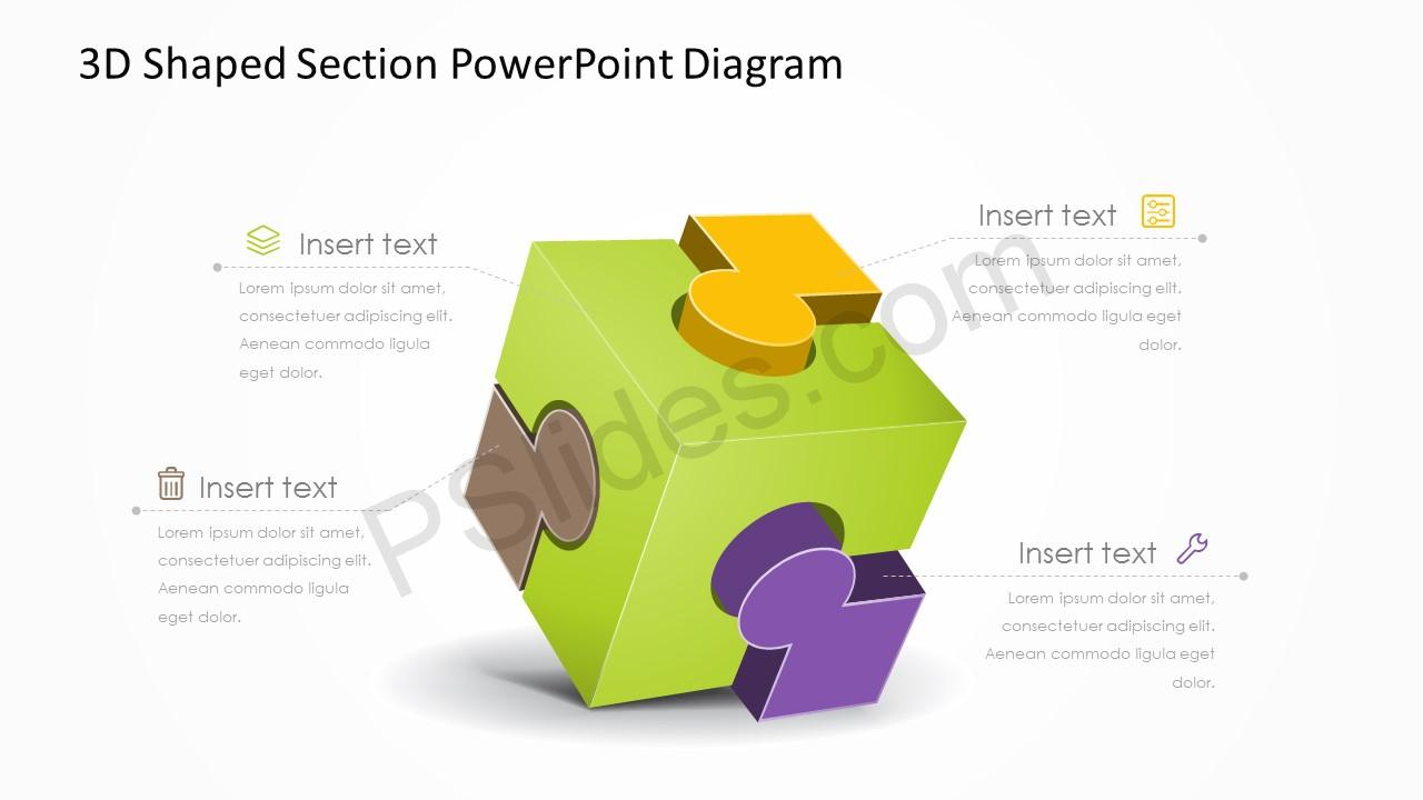 3d shaped section powerpoint diagram pslides ccuart Image collections