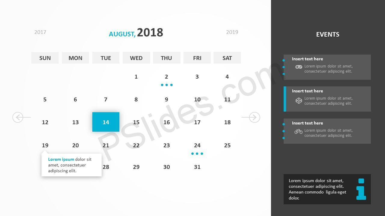 August 2018 Calendar Powerpoint Template