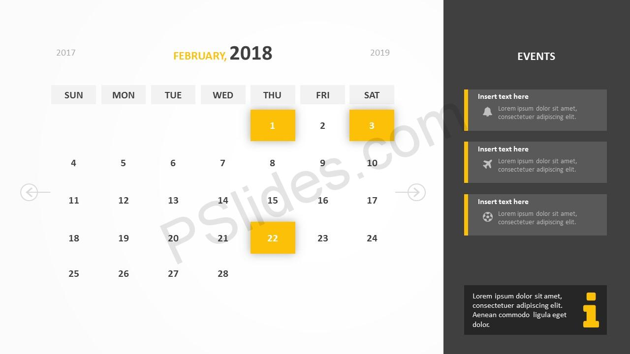 February 2018 Calendar Powerpoint Template