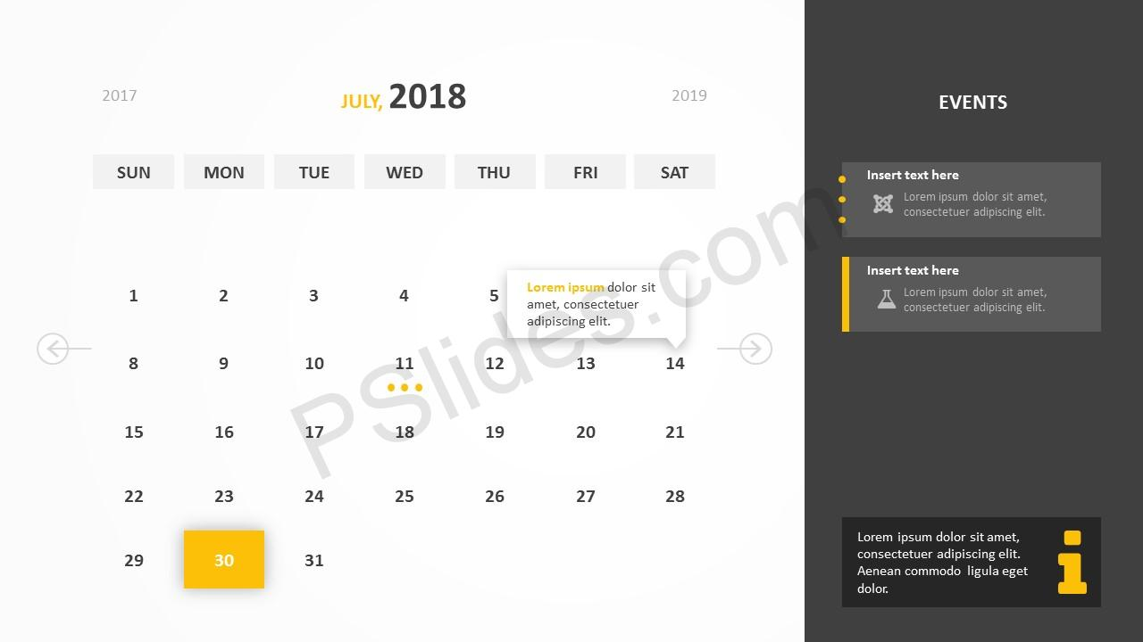 July 2018 Calendar Powerpoint Template
