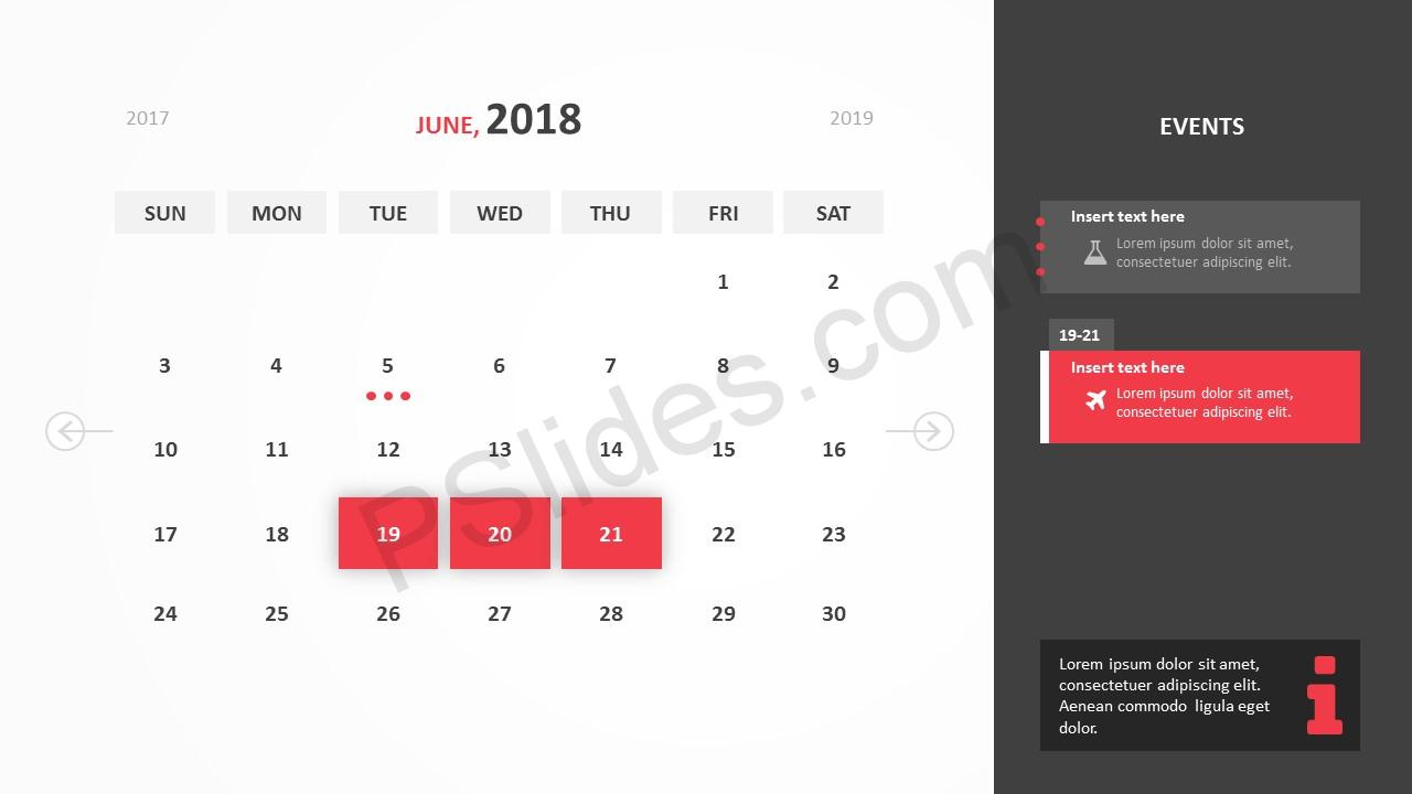 June 2018 Calendar Powerpoint Template