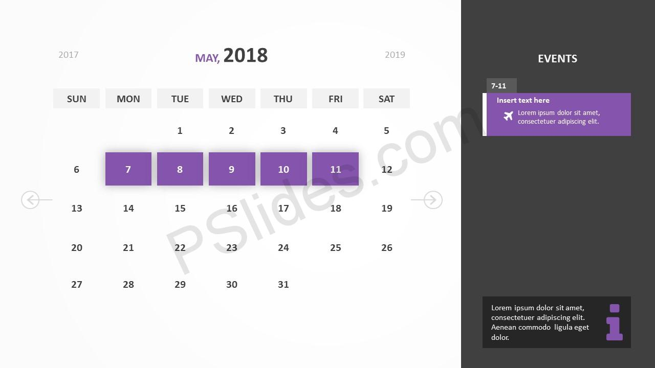 May 2018 Calendar Powerpoint Template