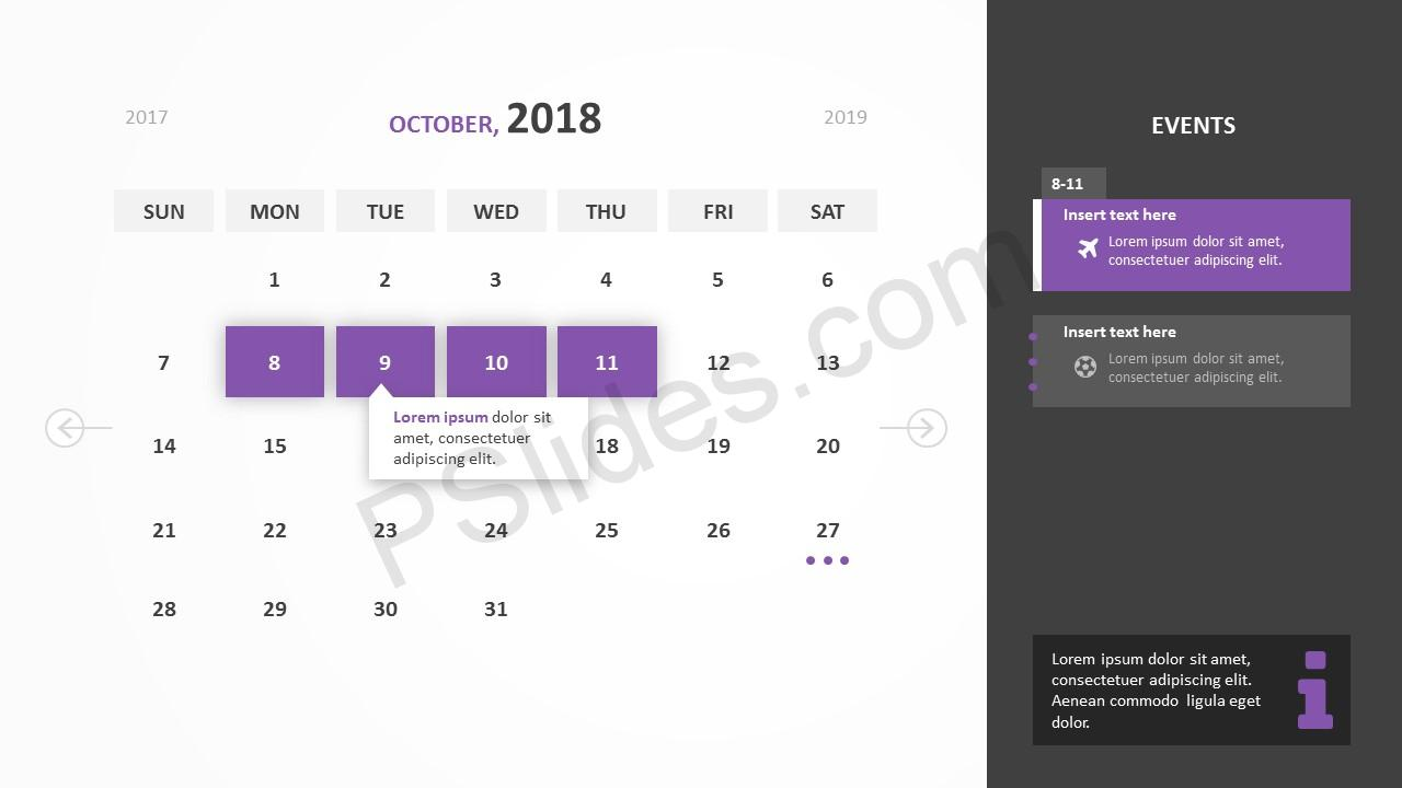 October 2018 Calendar Powerpoint Template