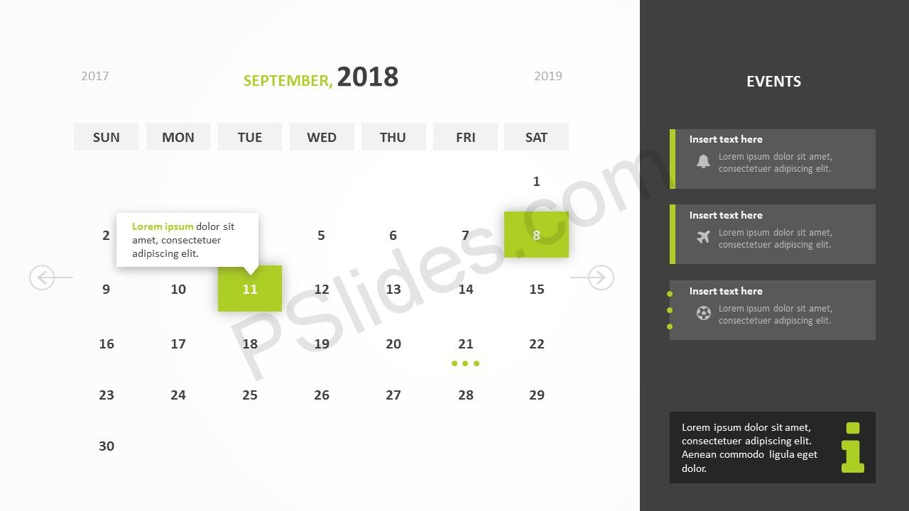 September 2018 Calendar Powerpoint Template