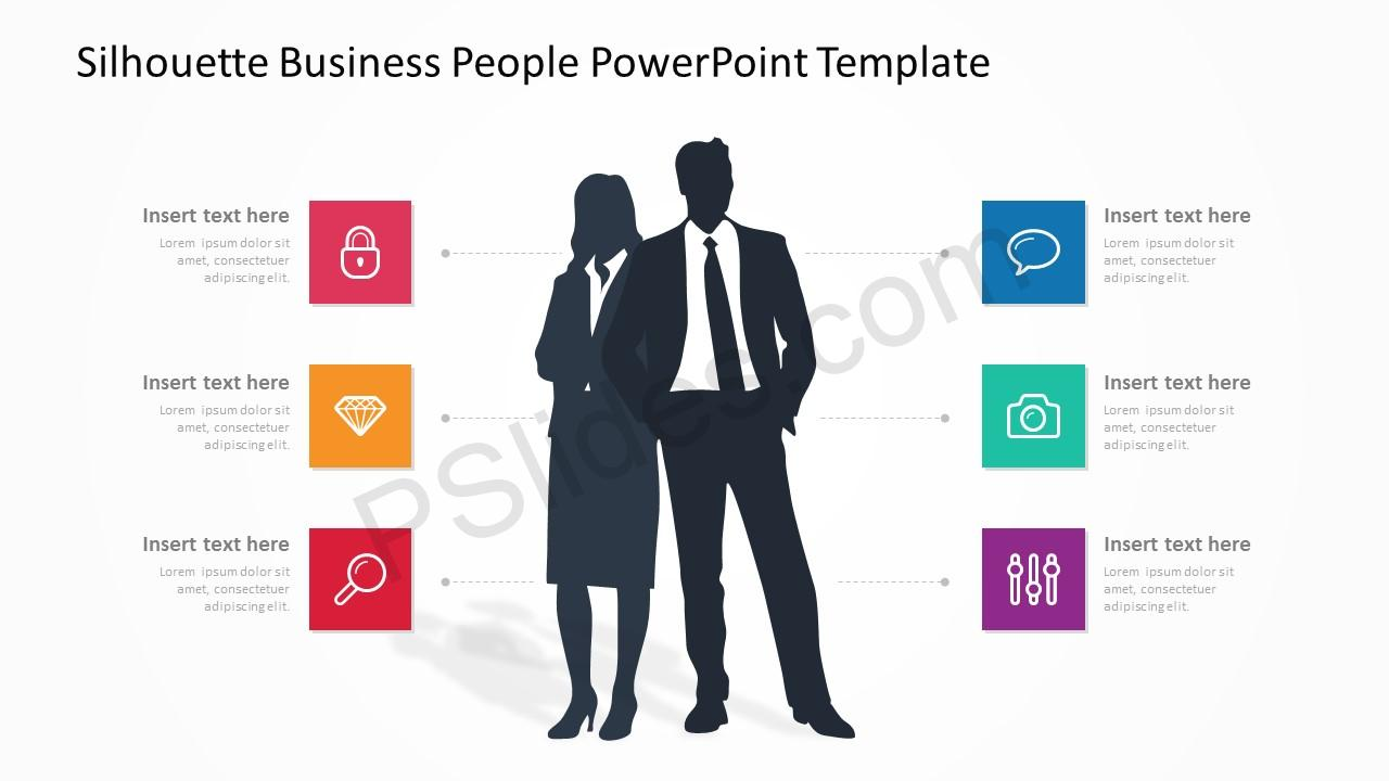 Silhouette Business People PowerPoint Template 3