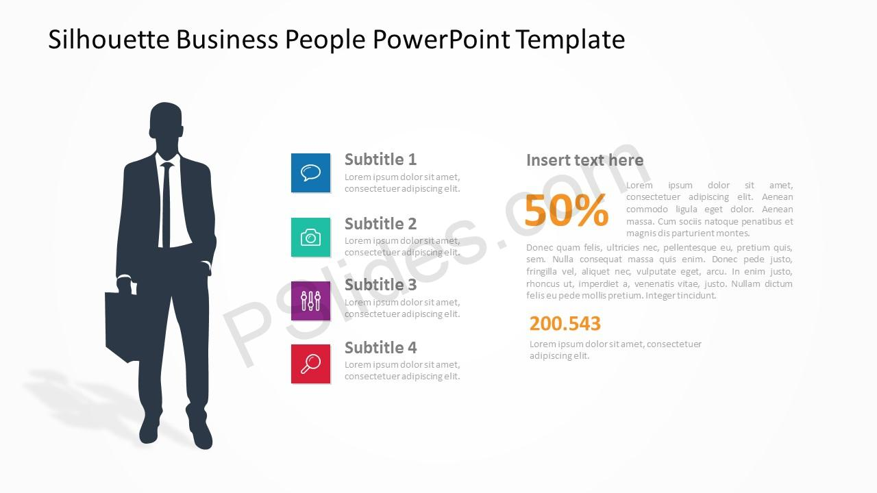 Silhouette Business People PowerPoint Template 4