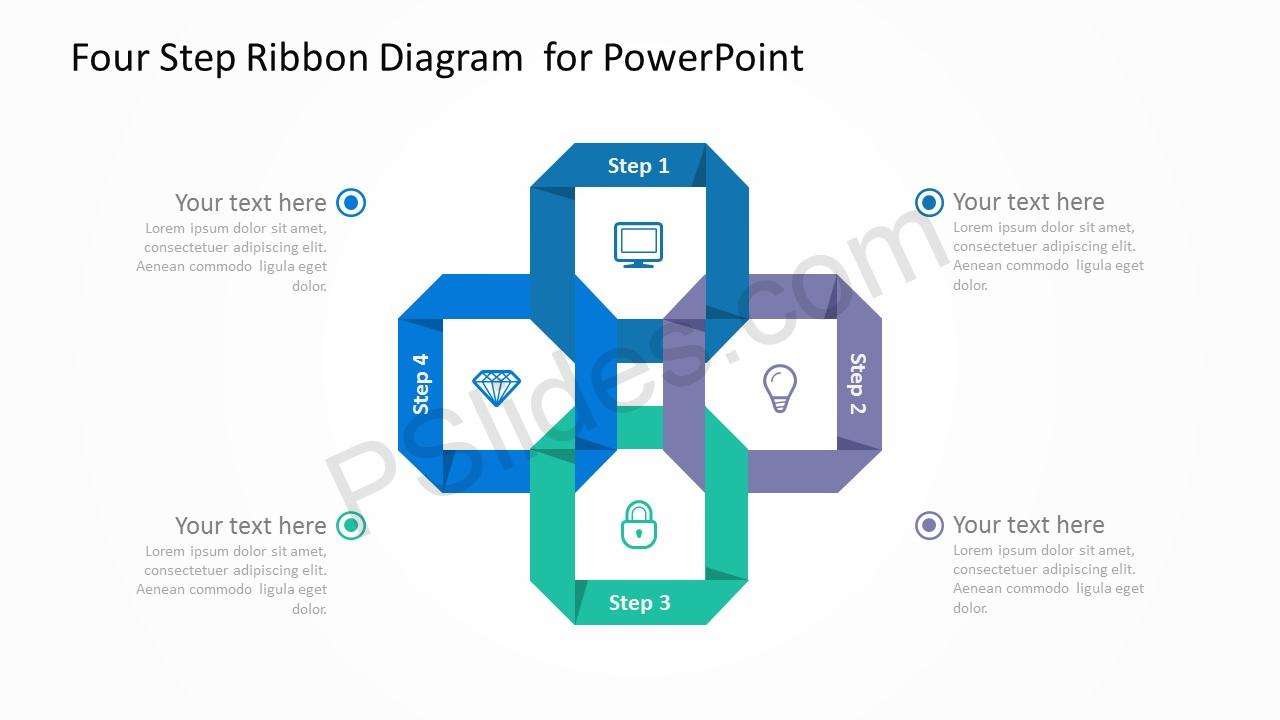 Four Step Ribbon Diagram  for PowerPoint