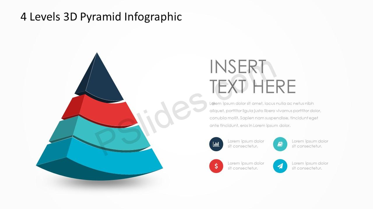4 Levels 3D Pyramid Infographic