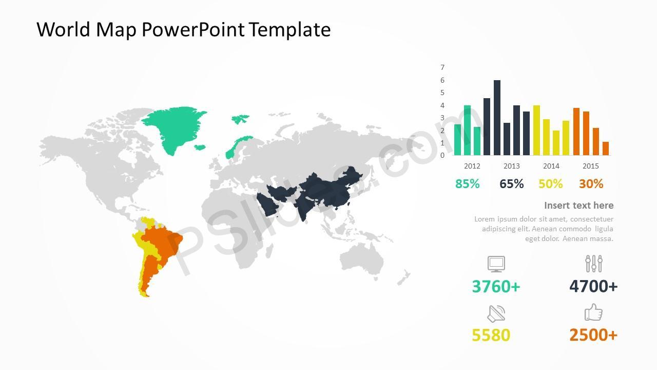 World Map Template slide 4