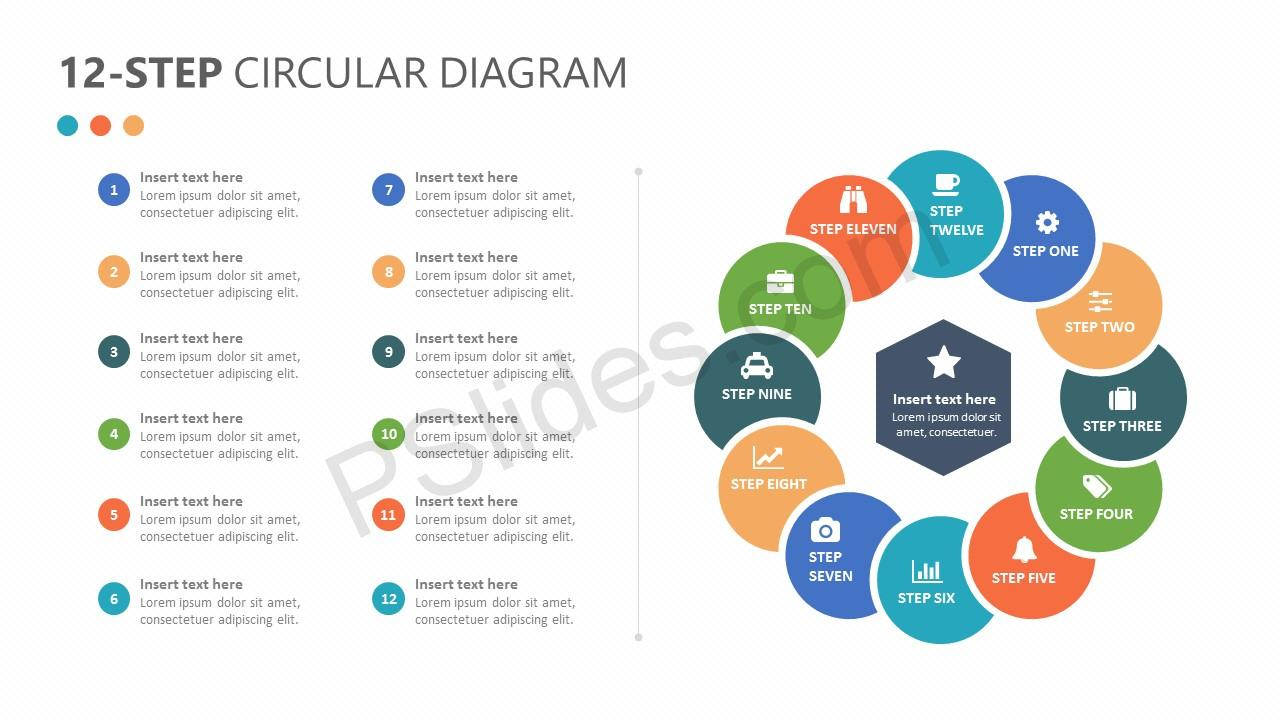 12-Step Circular Diagram for PowerPoint Slide 1
