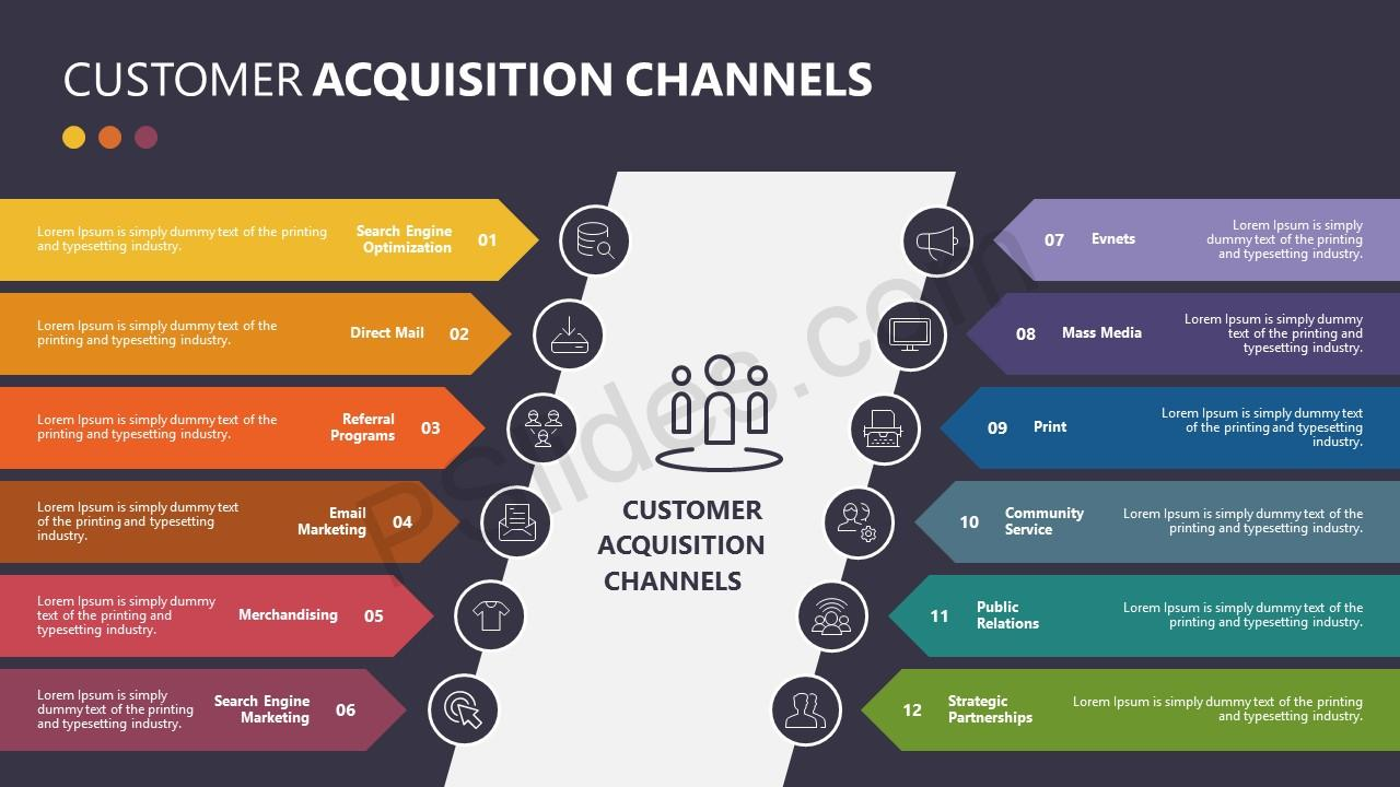 Customer Acquisition Channels for PowerPoint – Black