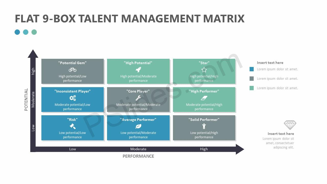 Flat 9-Box Talent Management Matrix Slide 1