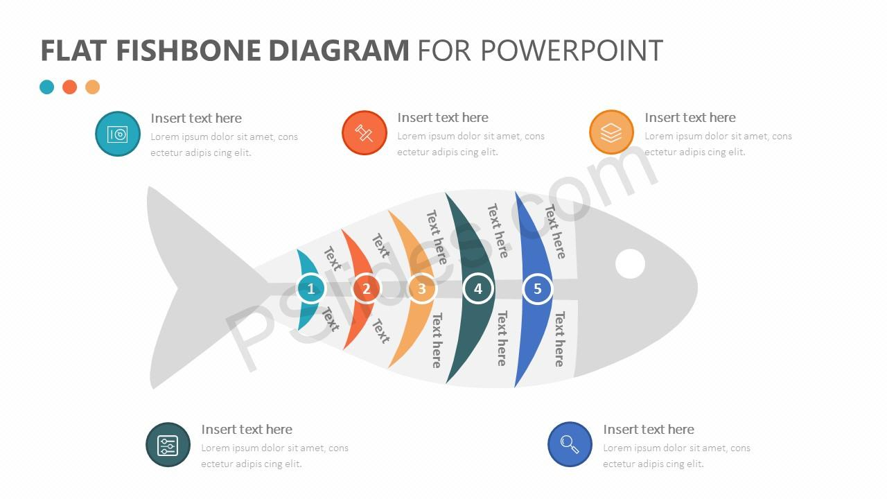 Flat Fishbone Diagram for PowerPoint