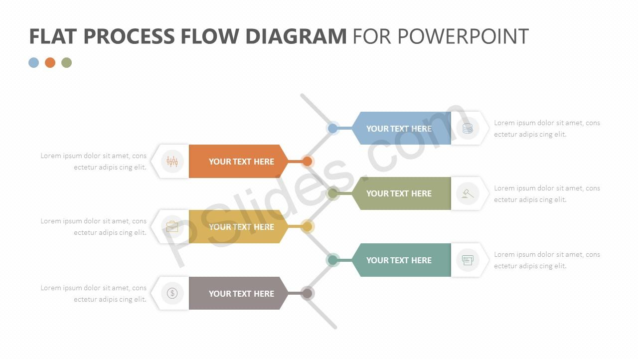 Flat Process Flow Diagram for PowerPoint