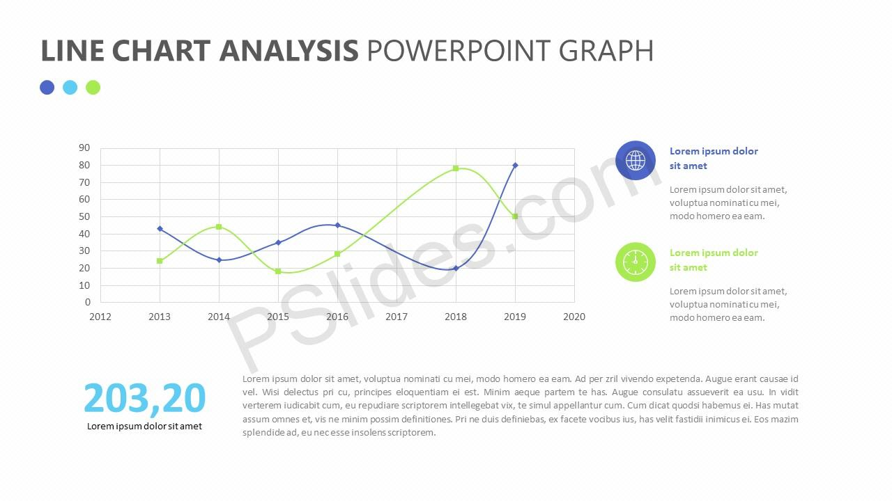 Line Chart Analysis PowerPoint Graph Slide 1