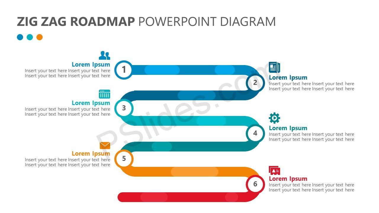 zig zag roadmap powerpoint diagram pslides