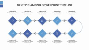 10 Step Diamond PowerPoint Timeline
