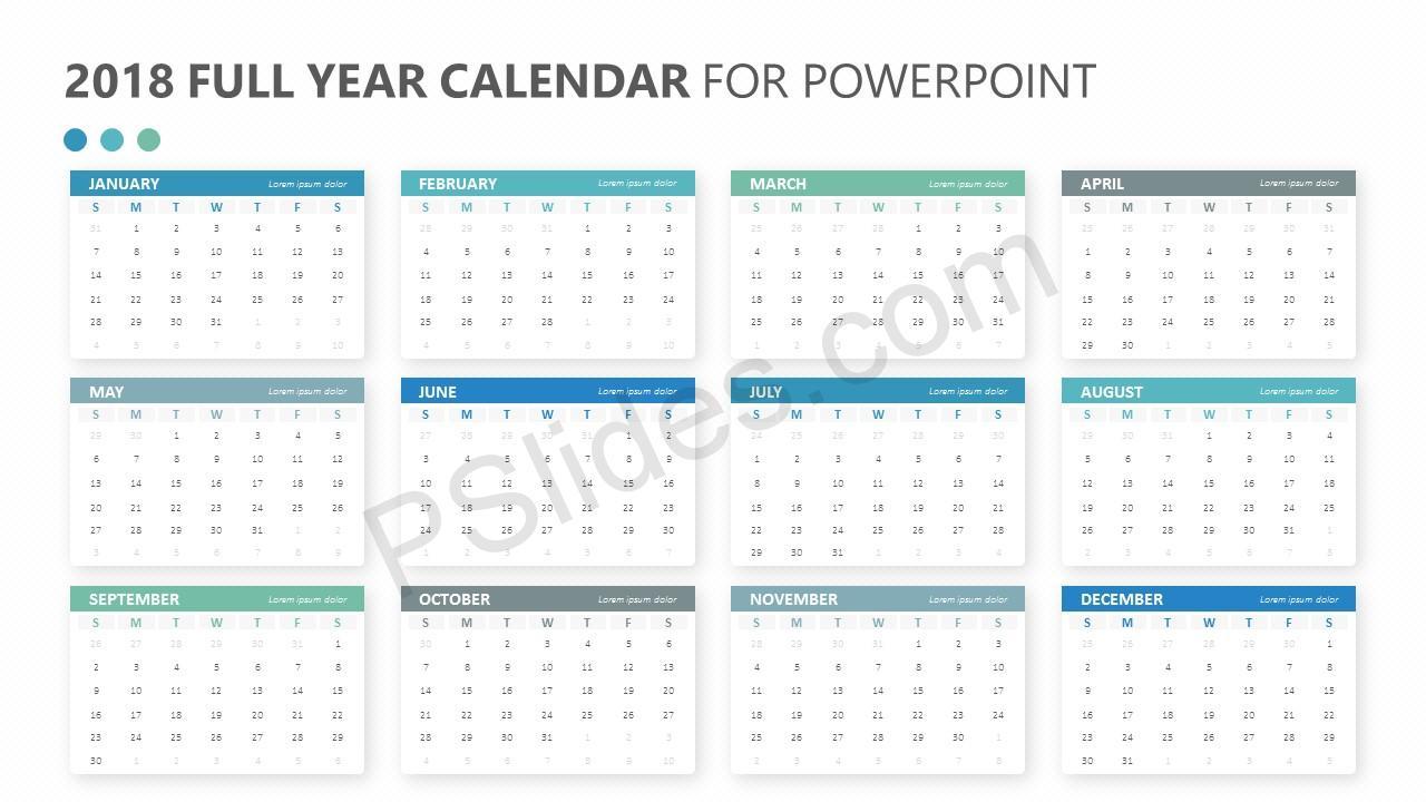 2018 Full Year Calendar for PowerPoint Slide 2