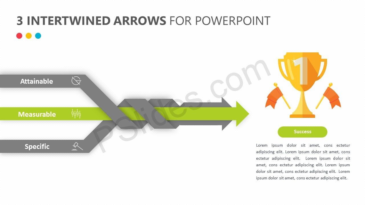 3 Intertwined Arrows for PowerPoint Slide 2