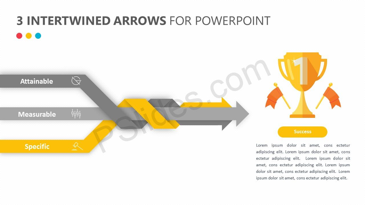 3 Intertwined Arrows for PowerPoint Slide 3